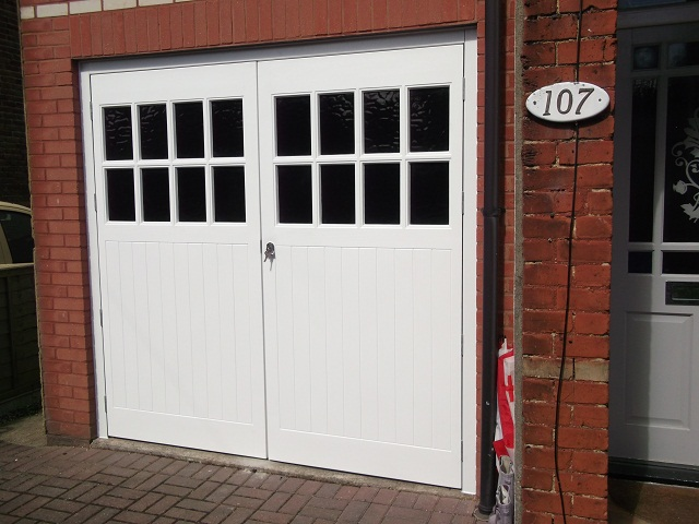 Wessex Sherwood GRP side hinged garage door, (mock glazing)